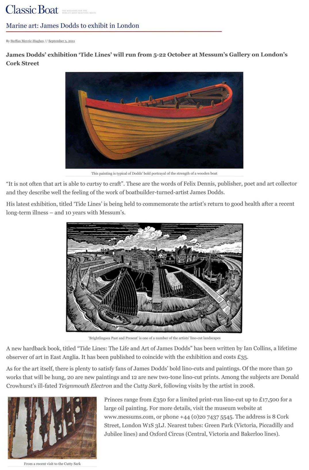 Marine art_ James Dodds to exhibit in London | Classic Boat Maga